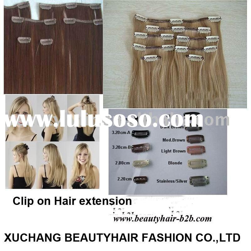 100% remy human clip on hair extension