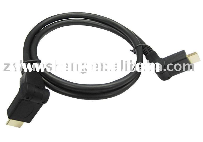 1080p HDMI Cable 3D w/Ethernet, 90 Degree
