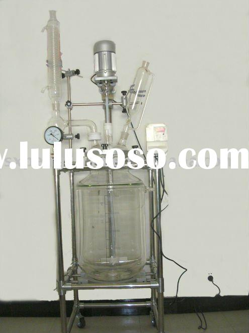 10L lab double-layer glass reactor (supreme quality GG17 or GG3.3 glass ,321 SS,PTFE sealing,1~100L