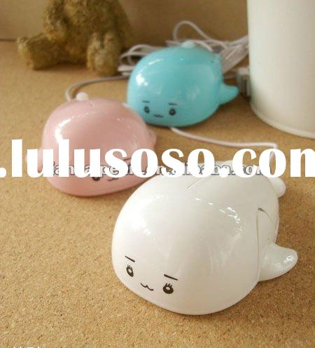 2012 New Creative Lovely Dolphin Shape White&Pink and Blue USB Optical Mouse