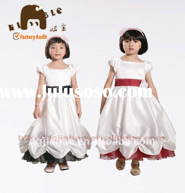 2012 fancy white princess fold bottom party dress for kids