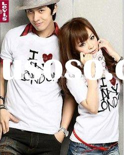 2012 hot selling white pure cotton i love london pattern lover's shirt, comfortable wear