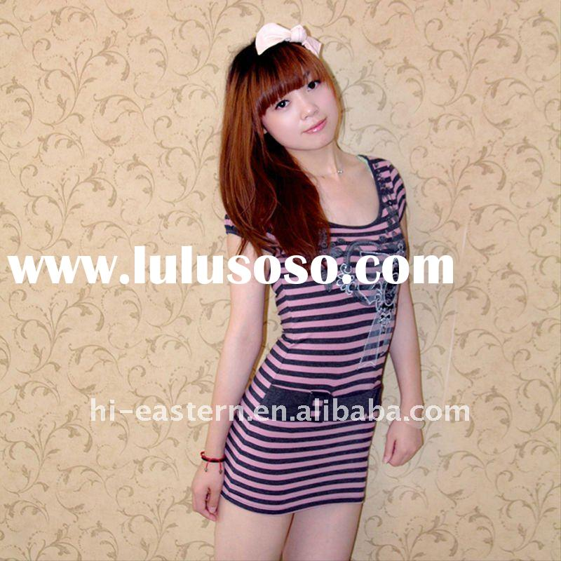 2012 latest ladies printed knitted top with fake half belt on front/ short sleeve ladies top