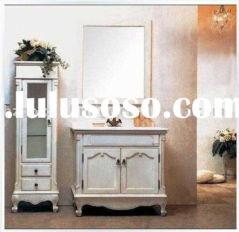 2012 new style Floor mounted Classic wooden bathroom furniture(white)