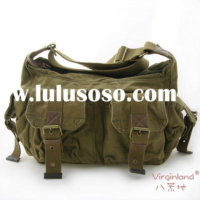 2353 army green 100% cotton washed canvas messenger bag