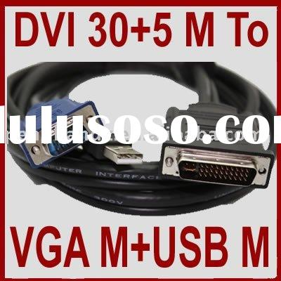 30+5 Pin DVI to 15 Pin VGA M/M+USB Cable for CRT LCD PC