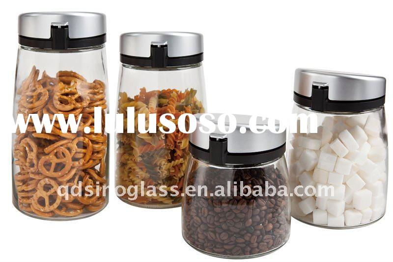 4 pcs pot belly glass storage jar sets with press and pop lid