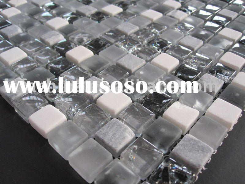 """5/8""""x5/8"""" Ice crackle glass mosaic tile with stone(SBH015)"""