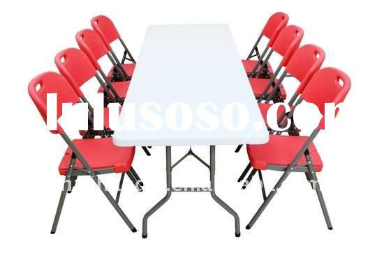 8 foot fold-in-half plastic banquet folding table and chair set