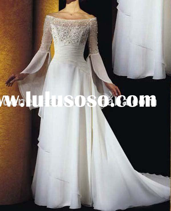 A-line/Princess Long sleeve Cheap Chiffon Wedding Gown with Sweetheart Neckline Chapel Length-DE-WR0