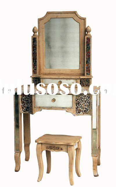 Antique Wooden Dressing Table with Mosaic Glass