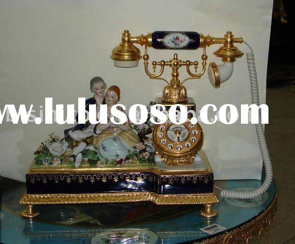 Antique art table telephone,made of copper, ceramic, pottery art, porcelain art