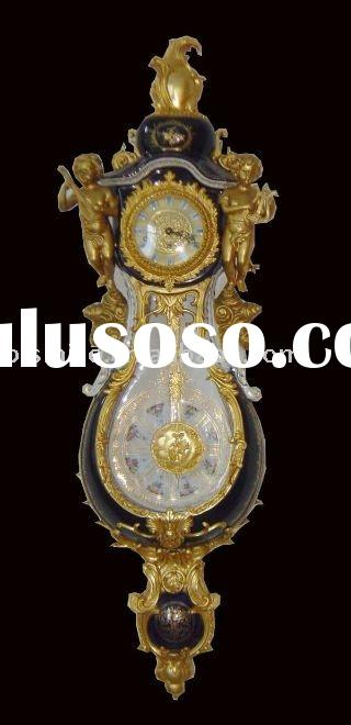 Antique ceramic gold plated wall clock, home decoration clock, porcelain art,54inch height,MOQ:1PC(B