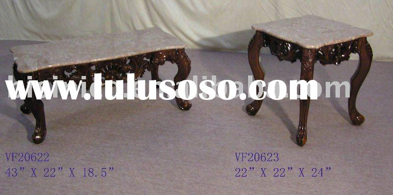 Antique coffee table and end table with marble top