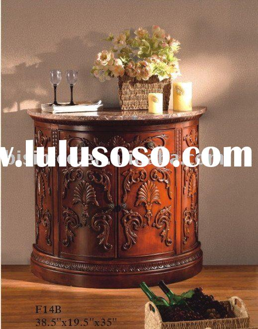 Antique solid wood half round cabinet/table with marble top,American home furnitures