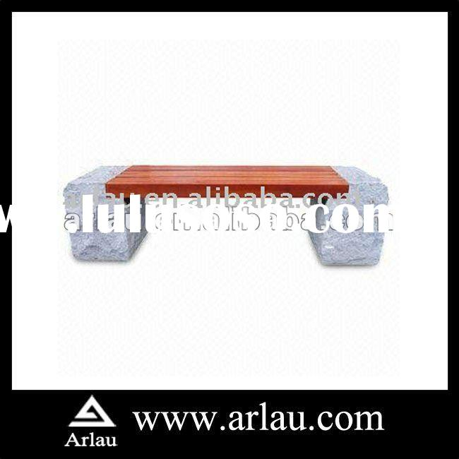 Arlau FW91 Outdoor Concrete and Wood Garden Bench