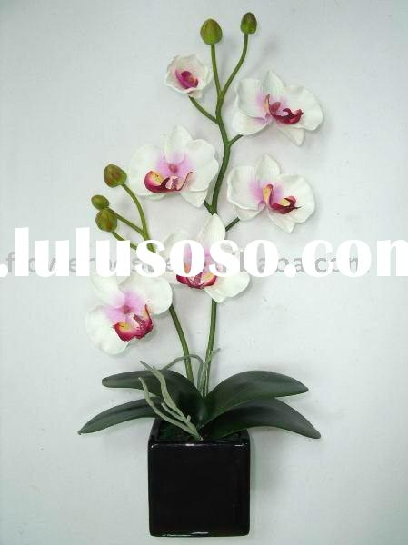Artificial Phalaenopsis Orchid in Black Ceramic Pot