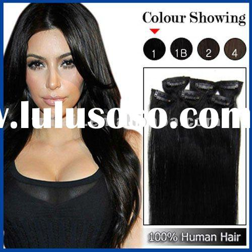 Black Hair Remy Clip In Human Hair Extension