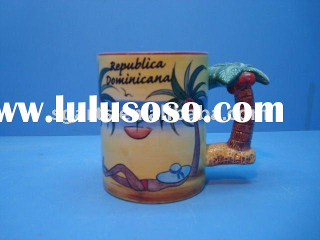 Ceramic Souvenir cup,coconut palm