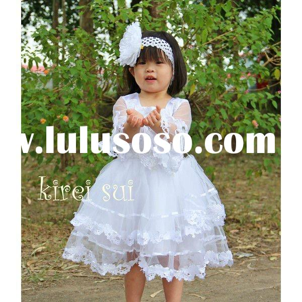 Children Girls Elegant White Pearl Long Sleeves Party Dress