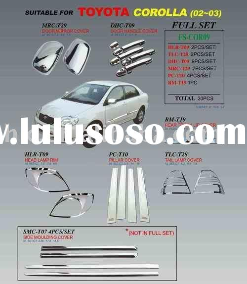 Chrome Accessories, Door Handle Cover, Mirror Cover for corolla