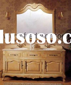Classic Style Wooden Double Sink Bathroom Cabinet Furniture