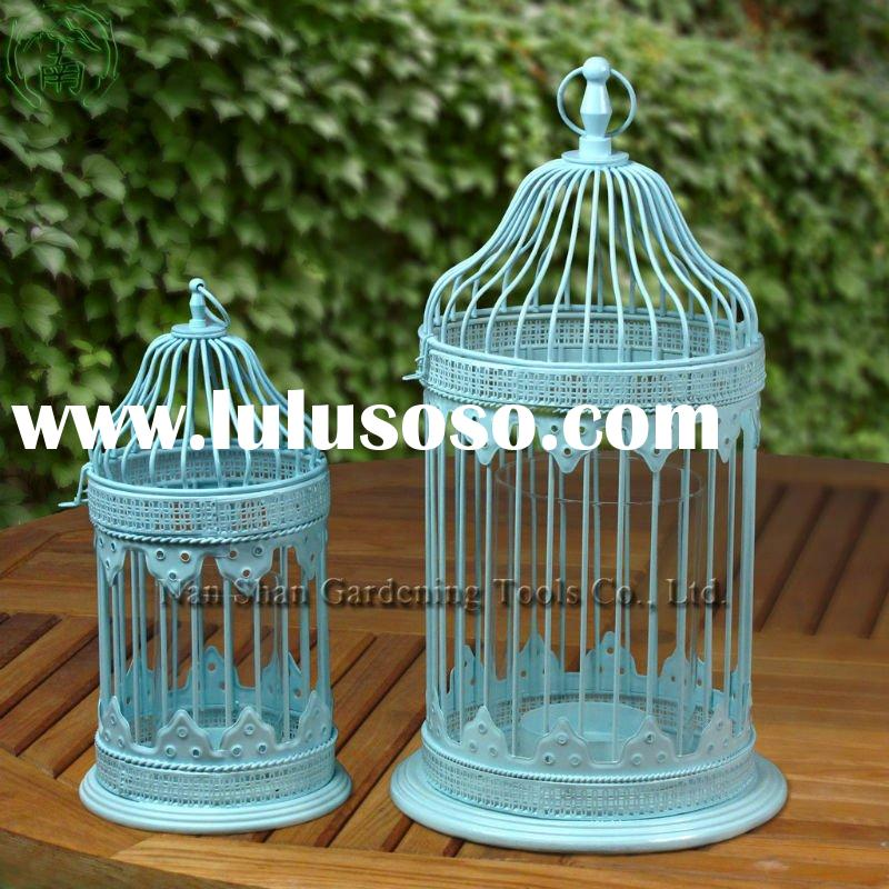 Clear Glass Shield Steel Bird Cage Tealight Candle Holder / Lantern