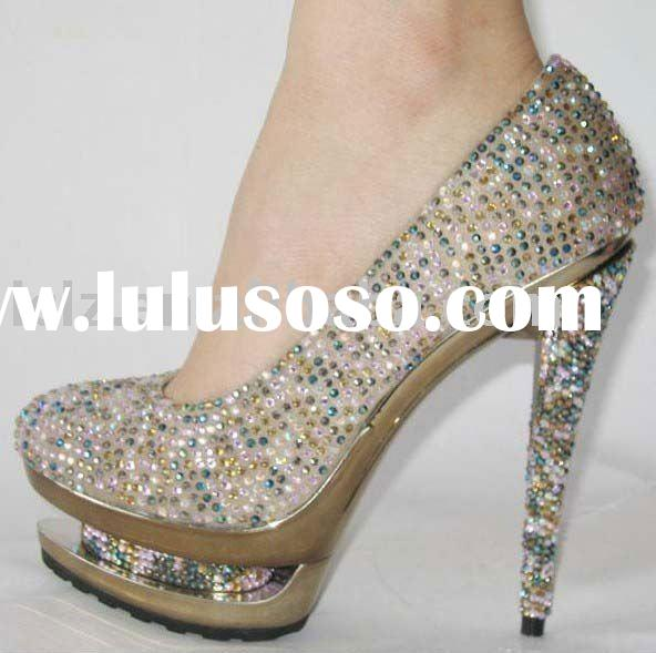Colorful diamond high heel evening party shoes genuine lesther G105