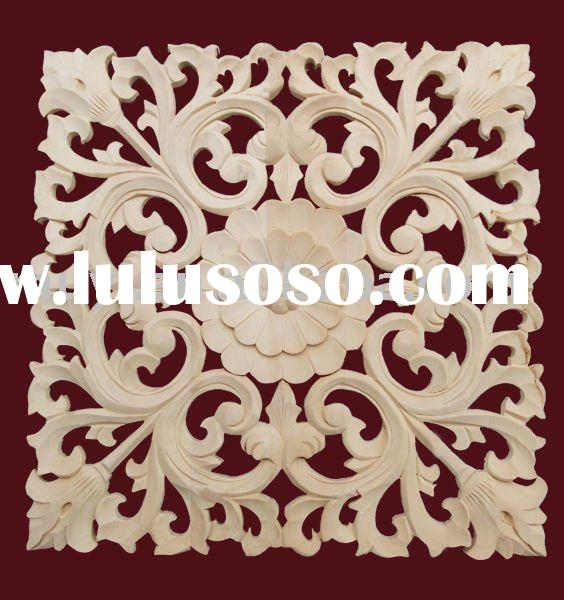 Decorative wooden flower pattern for furniture/wooden hand carved onlay