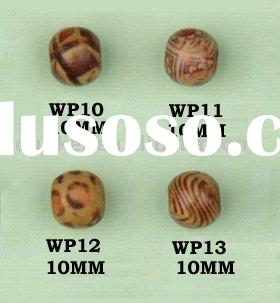 Fancy Wooden Printing Pattern Ball Beads