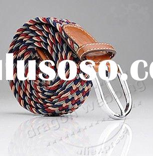 Fashion cheap braided belts leather pocket belts braided leather belts