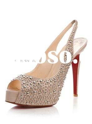 Fashion ladies high heel shoes with stone for evening dresses