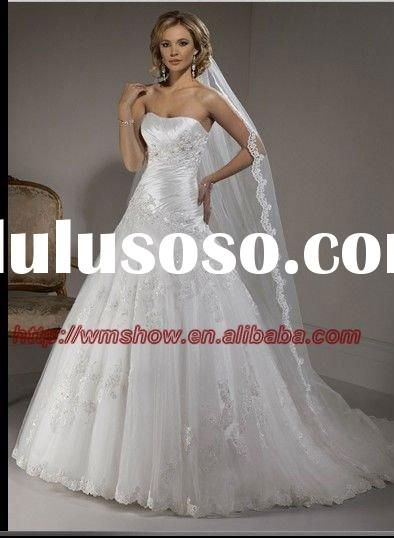 Fashional Style Strapless Ruffle Appliqued Lace Princess Western Wedding Dresses