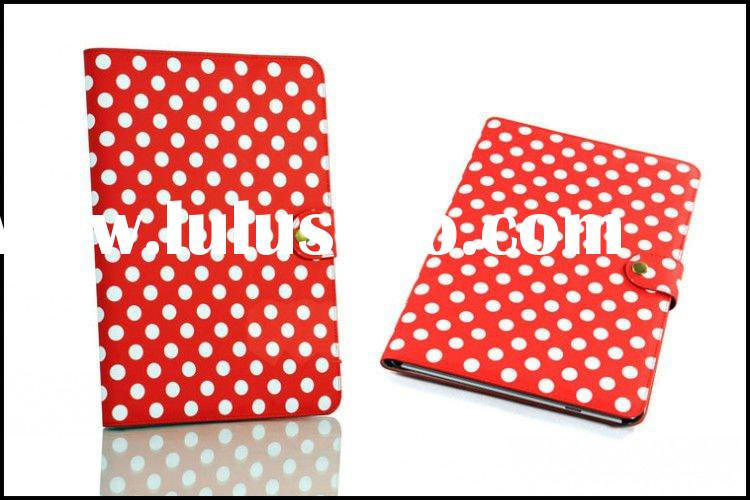 For Samsung Galaxy Tab 10.1 P7510 P7500 Flip Leather Case Polka Dots Pattern With Snap Button