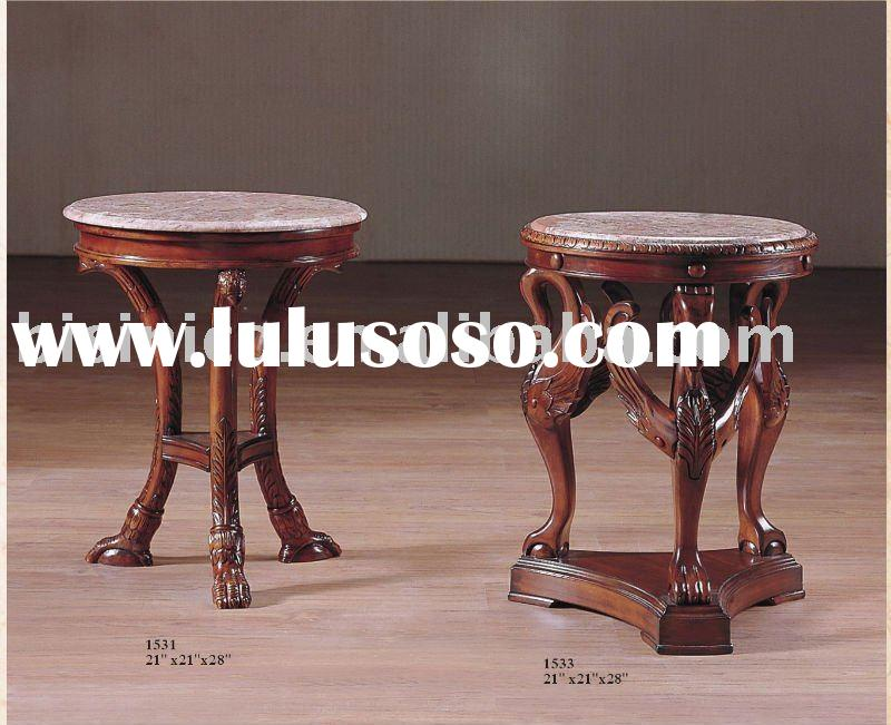 French provincial wooden end table with marble top,coffee table,classical furniture