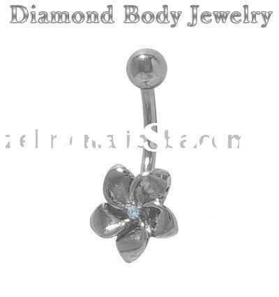Genuine Diamond 14k Solid White Gold Flower body belly ring navel jewelry