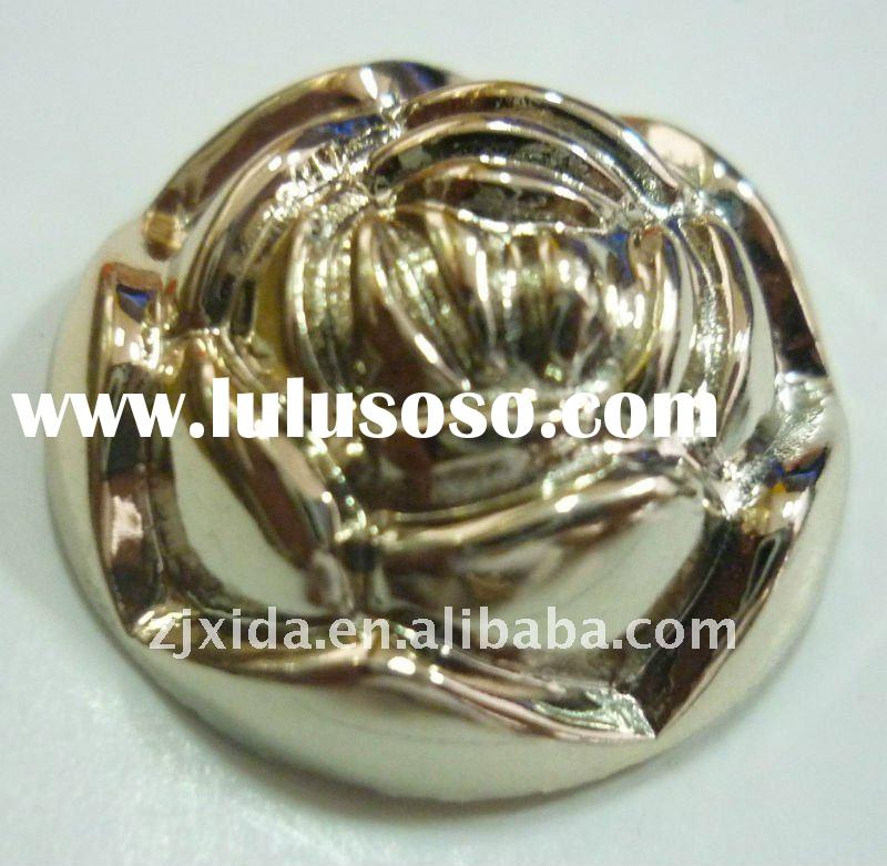 Golden rose flower buttons for jeans