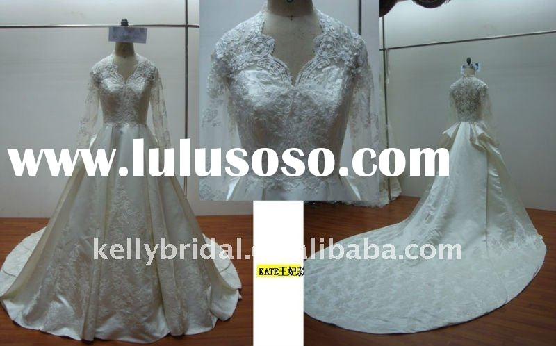 HOT Princess Kate Wedding Dress Royal Satin Applique Lace long sleeve bridal gown