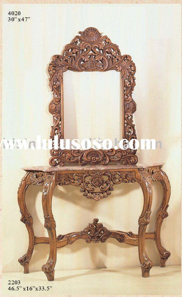 Hand carved solid wood antique console table sets,mirror,American antique furniture