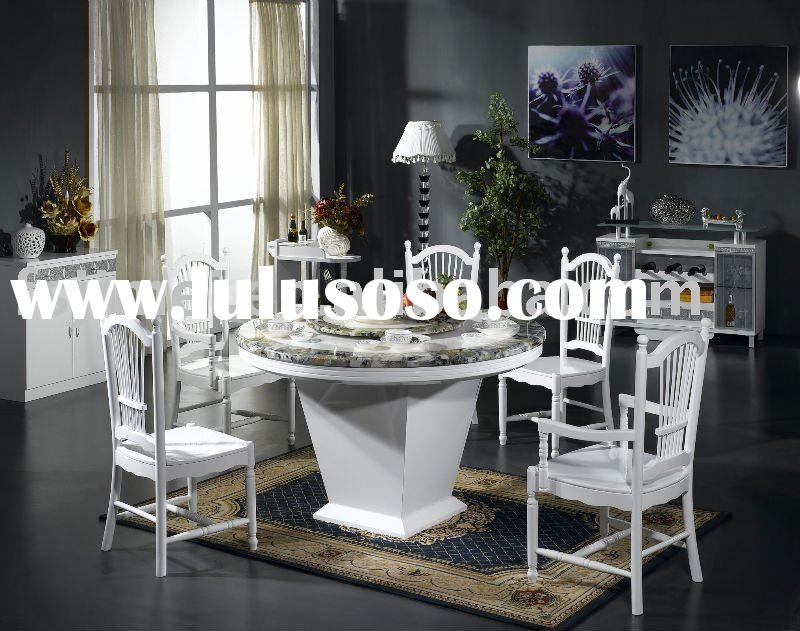 High gloss White Round Marble top Dining Table
