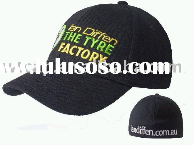 Hot sale embroidered black fitted baseball cap