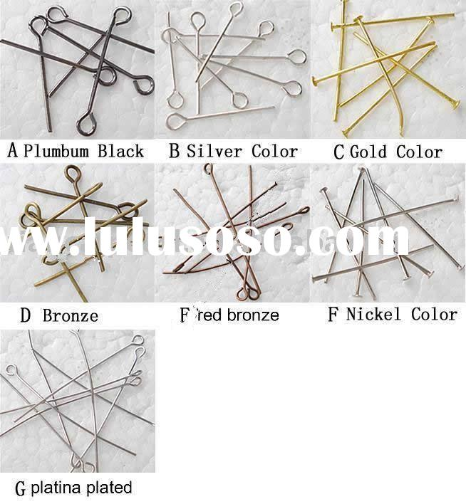 Iron or silver or brass Jewelry Findings, Mixed jewelry Iron headpins & eyepins, Mixed size &