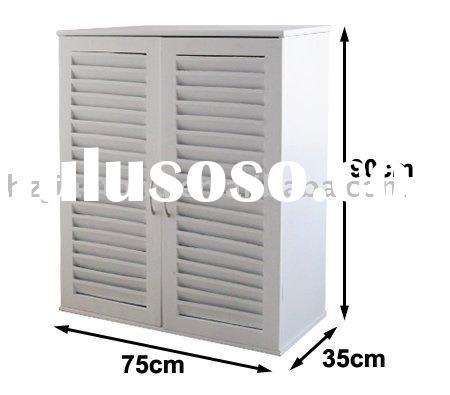 MDF With Louvered Door White KD Shoe Cabinet