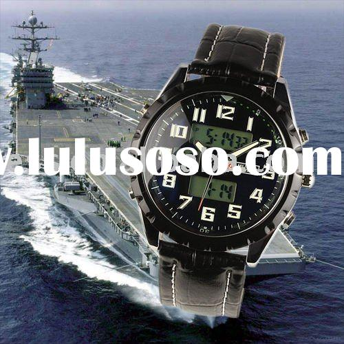 MR007 New Classic Swiss Design Mens Man Black Face Army Military Leather Sport Watch