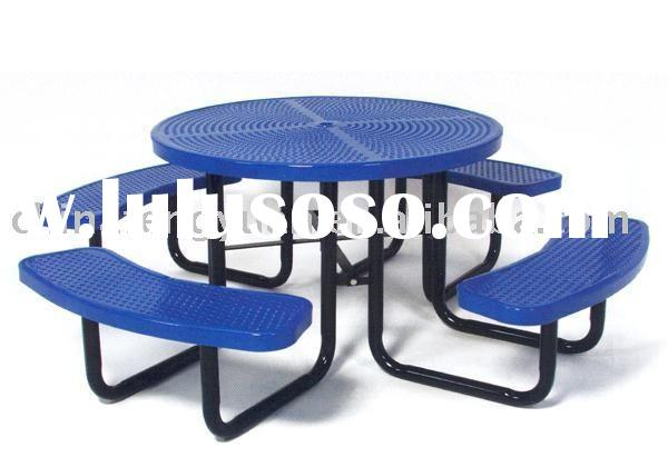 Outdoor picnic table, public seating, metal furniture, camping table