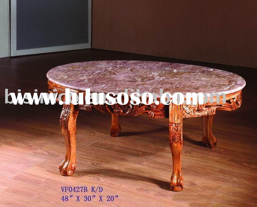 Oval coffee table with marble top,antique coffee table,solid wood table