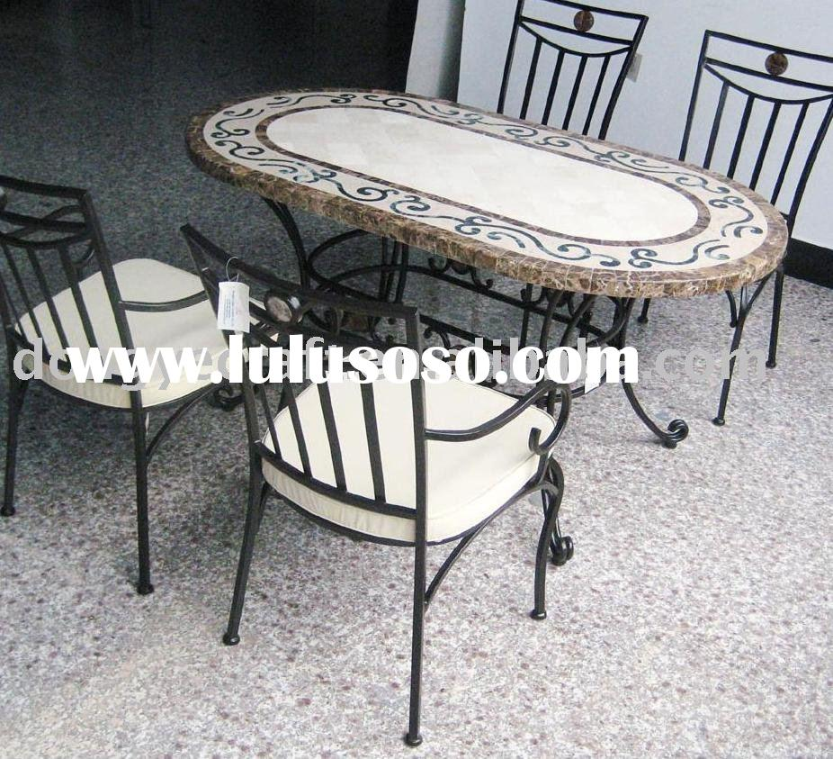 Oval travertine top dining table