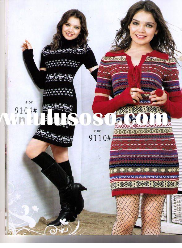 Popular lady young fashion knitting dresses