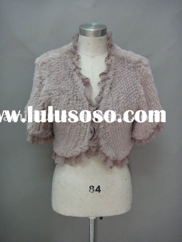 Real Rabbit Fur Jacket With Ruffle Lace Trim Designed For Elegant Lady Hand Knitted Fur Jacket New H