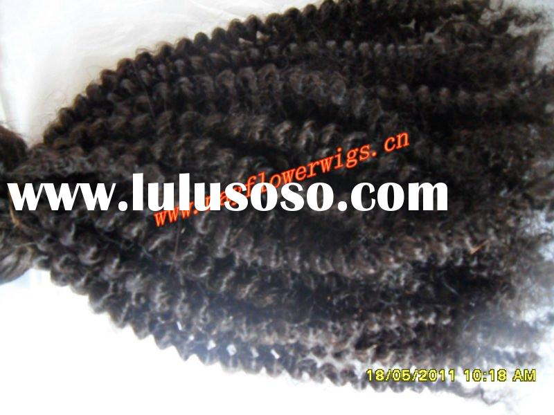 Real human kinky curl hair extension/wefts/bulk/weaving for african americans
